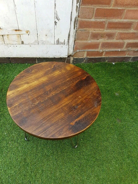 Coffee round Table Rustic mid century modern with Hairpin Legs Offered in several colors - Online Wood Worker