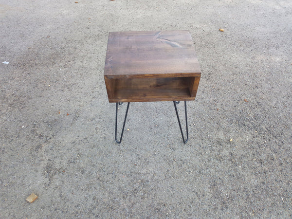 Nightstand bedside table with hairpin legs mid century modern Offered in several colors - Online Wood Worker
