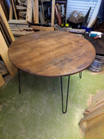 round table dining dine kitchen mid century modern with Hairpin Legs Offered in several colors - Online Wood Worker