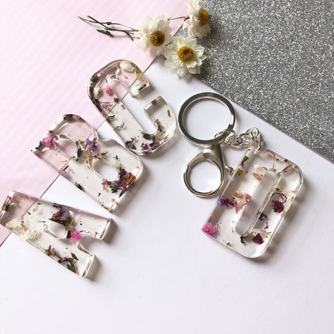 Large initial flower confetti key ring