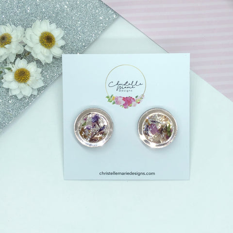 20mm round rose gold mirror acrylic dried flower stud