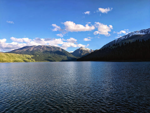 Wallowa Lake with Wallowa Mountains in background on a sunny day