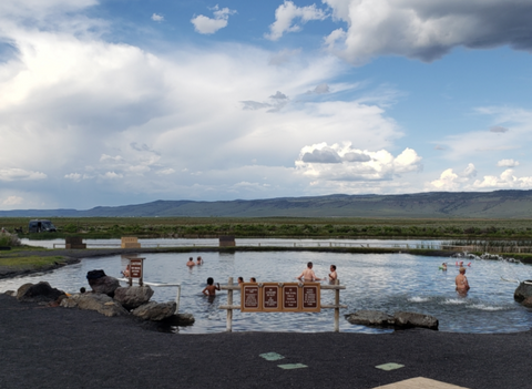 People soaking in hot springs in Crystal Crane Oregon