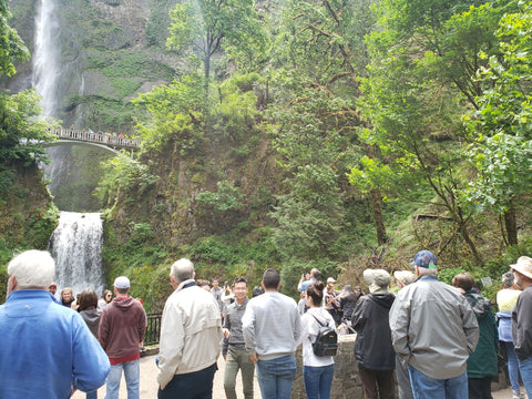 Crowd of people at Multnomah Falls in the Columbia River Gorge