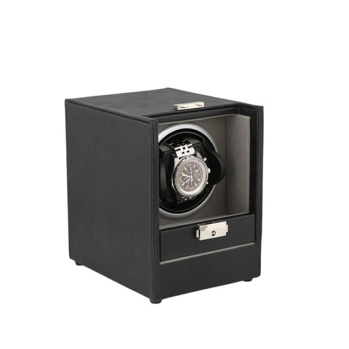 Black Genuine Leather Watch Winder - Slide Away Door - Platinum Velvet Lining by Aevitas - Winder World