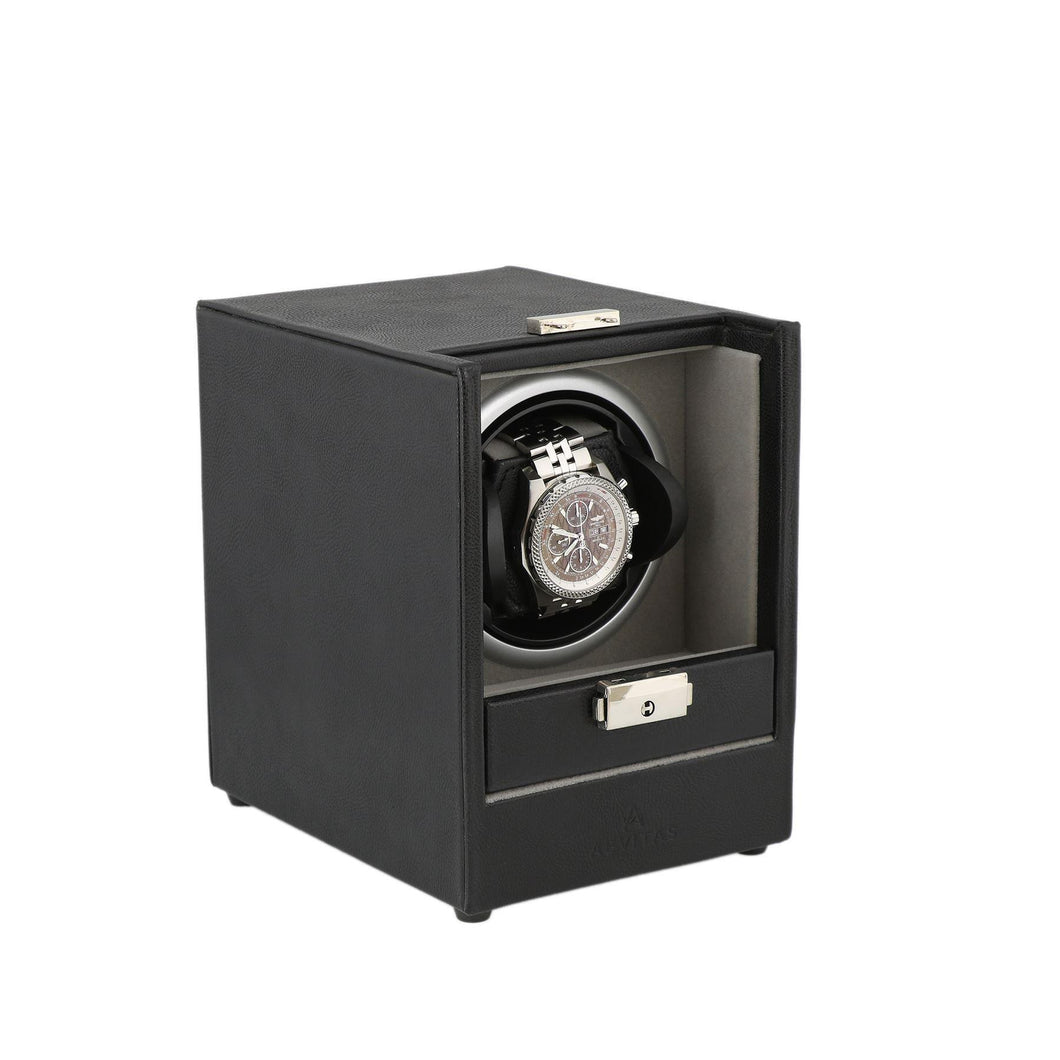 Aevitas Watch Winder Black Leather with Grey Interior