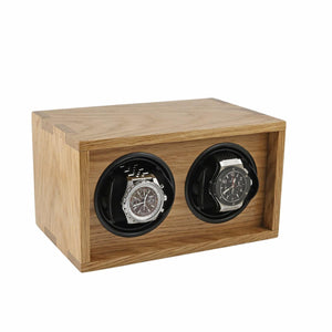 Solid Oak Wood Watch Winder for 2 Watches Manufactured in the UK by Aevitas - Winder World