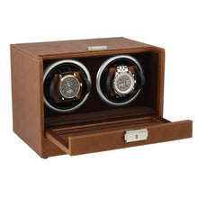 Load image into Gallery viewer, Brown Genuine Leather Dual Watch Winder - Slide Away Door - Deep Brown Velvet Lining by Aevitas - Winder World