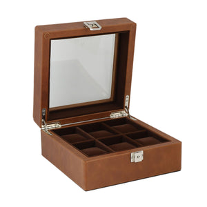 Brown Genuine Leather Watch Collectors Box for 6 Wrist Watches by Aevitas - Winder World