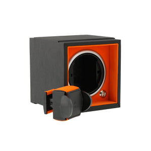 Single Watch Winder Larger Wrist Sizes Black Soft Touch with Orange by Aevitas