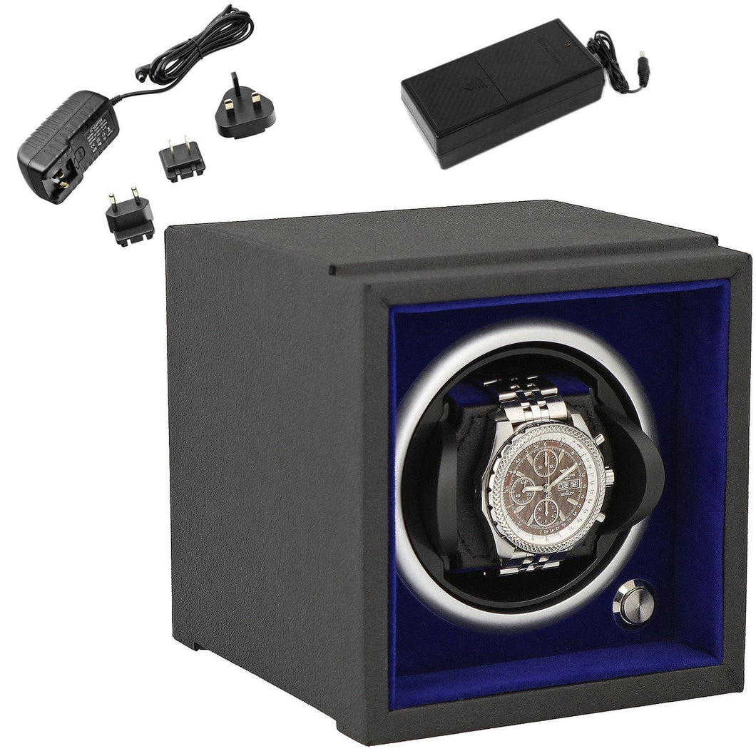Single Watch Winder for Larger Wrist Sizes Black Soft Touch with Blue Inner by Aevitas - Winder World