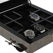 Load image into Gallery viewer, Premium Quality Dark Burl Wood Watch Collectors Box for 12 Watches by Aevitas - Winder World