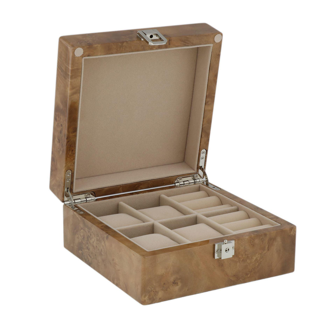 Watch and Cufflink Collectors Box 4 Pair Cufflinks + 4 Wrist Watches in Light Burl Wood with Solid Lid by Aevitas - Winder World