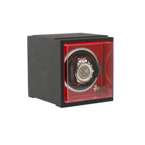 Single Watch Winder Larger Wrist Sizes Black Soft Touch with Red by Aevitas - Winder World