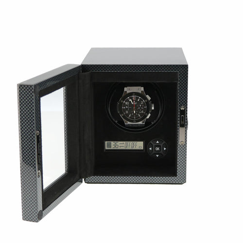Watch Winder for 1 Automatic Watch Carbon Fibre finish with LED Light by Aevitas