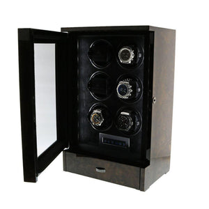 AUTOMATIC 6 WATCH WINDER DARK BURL WOOD FINISH TOWER SERIES BY AEVITAS - Winder World