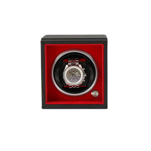 Single Watch Winder Larger Wrist Sizes Black Soft Touch with Red by Aevitas