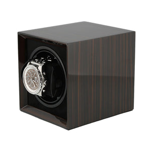 Macassar Wood Watch Winder for 1 Watch with Rechargeable Battery by Aevitas - Winder World