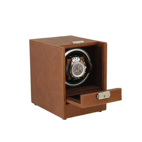 Brown Genuine Leather Watch Winder - Slide Away Door - Deep Brown Velvet Lining by Aevitas - Winder World