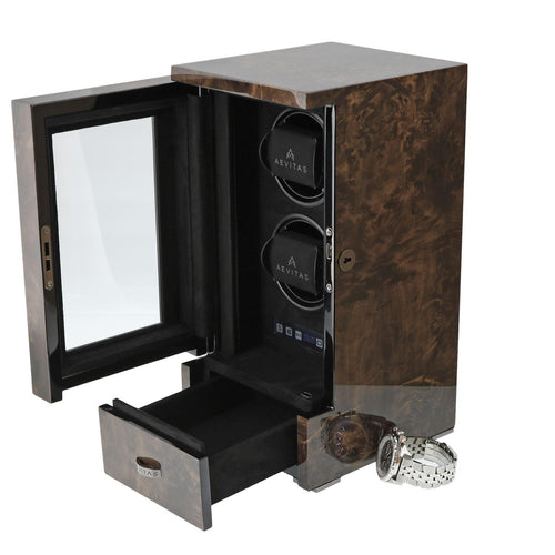 Dark Burl Wood Tower 2 Watch Winder by Aevitas
