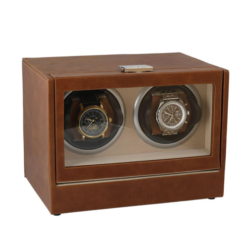 Brown Genuine Leather Dual Watch Winder - Slide Away Door - Beige Velvet Lining by Aevitas - Winder World