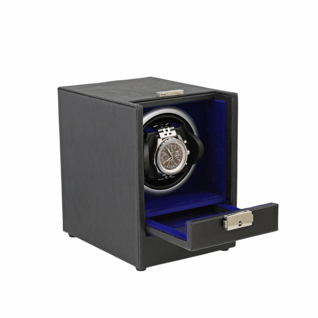 Black Genuine Leather Watch Winder - Slide Away Door - Royal Blue Velvet Lining by Aevitas - Winder World