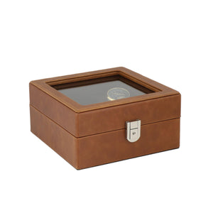 Brown Genuine Leather 4 Watch + 4 Pair Cufflink Collectors Box Velvet Brown Lining by Aevitas