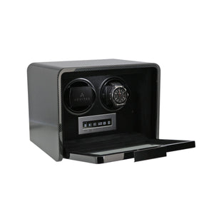 Aevitas Carbon Fibre 2 Watch Winder Open