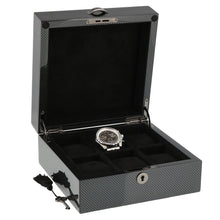Load image into Gallery viewer, PREMIUM QUALITY CARBON FIBRE WATCH BOX FOR 6 WATCHES SOLID LID BY AEVITAS - Winder World