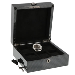PREMIUM QUALITY CARBON FIBRE WATCH BOX FOR 6 WATCHES SOLID LID BY AEVITAS - Winder World