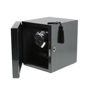 Watch Winder for 1 Automatic Watch Carbon Fibre finish with LED Light by Aevitas - Winder World