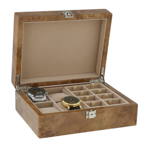 Watch and Cufflink Collectors Box 16 Pair Cufflinks + 4 Wrist Watches in Light Burl Wood with Solid Lid by Aevitas - Winder World