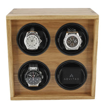 Load image into Gallery viewer, Solid Oak Wood Watch Winder for 4 Watches Manufactured in the UK by Aevitas - Winder World