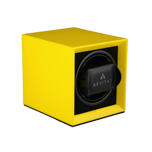 Watch Winder for 1 Automatic Watch in Yellow Mains or Battery by Aevitas