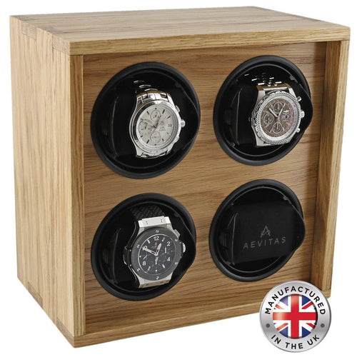 Solid Oak Wood Watch Winder for 4 Watches Manufactured in the UK by Aevitas