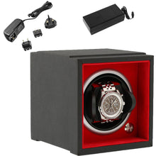 Load image into Gallery viewer, Single Watch Winder Larger Wrist Sizes Black Soft Touch with Red by Aevitas - Winder World
