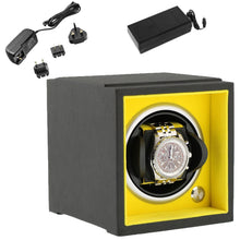 Load image into Gallery viewer, Single Watch Winder Larger Wrist Sizes Black Soft Touch with Yellow by Aevitas - Winder World