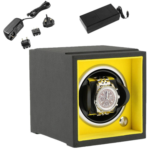 Single Watch Winder Larger Wrist Sizes Black Soft Touch with Yellow by Aevitas - Winder World