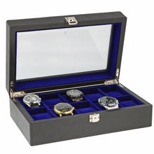 Load image into Gallery viewer, Black Genuine Leather Watch Collectors Box for 10 Wrist watches by Aevitas - Winder World