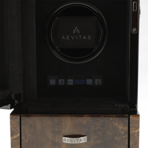 DUAL AUTOMATIC WATCH WINDER DARK BURL WOOD FINISH TOWER SERIES BY AEVITAS