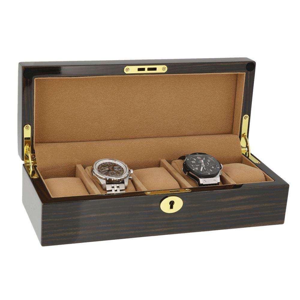 Macassar Wood Finish Watch Collector Box with Gold Chrome fittings for 5 watches by Aevitas - Winder World