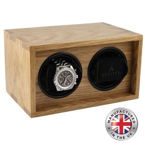 Solid Oak Wood Watch Winder for 2 Watches Manufactured in the UK by Aevitas