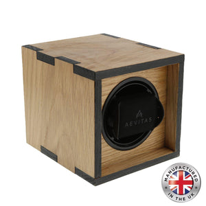 Compact Single Watch Winder in Solid Oak Wood with Dual colour finish manufactured in the UK by Aevitas