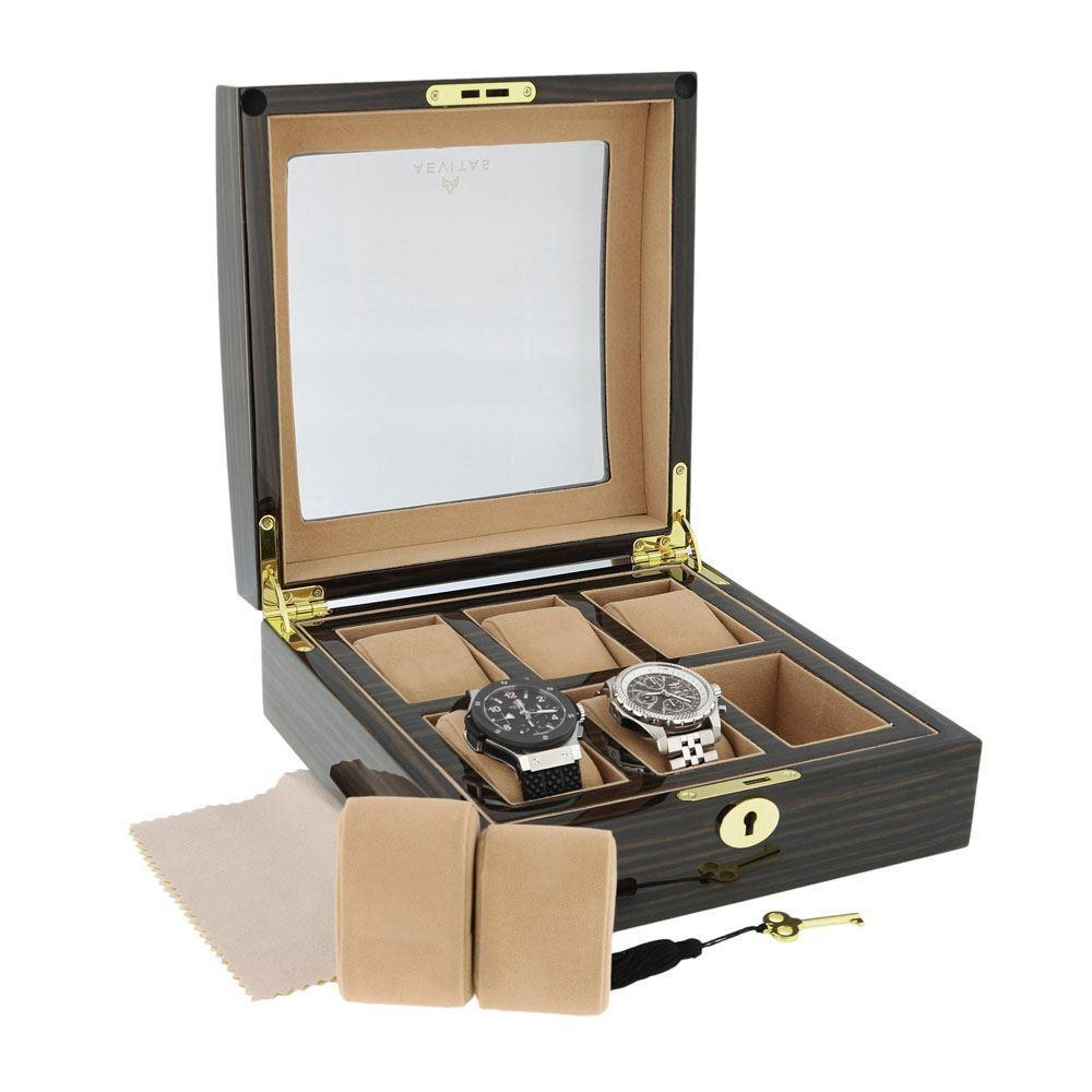 Superb Quality Macassar Wood Finish Watch Collectors Box for 6 watches with Glass top by Aevitas