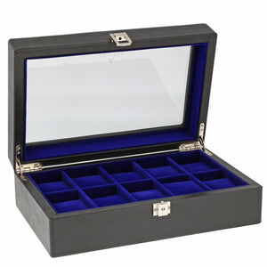 Black Genuine Leather Watch Collectors Box for 10 Wrist watches by Aevitas - Winder World