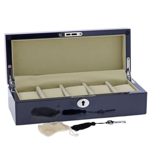 Blue Maple Wood Watch Collector Box with Chrome fittings for 5 watches by Aevitas - Winder World