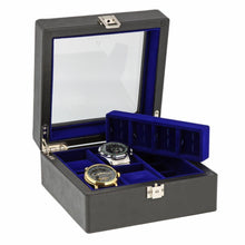 Load image into Gallery viewer, Black Genuine Leather 4 Watch + 8 Pair Cufflink Collectors Box Purple Velvet Lining by Aevitas