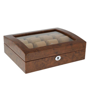 High Quality Watch Collectors Box for 8 Watches with Burl Walnut Veneer High Gloss Finish by Aevitas - Winder World