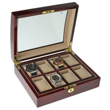 Load image into Gallery viewer, High Quality Watch Collectors Box for 8 Watches with Rose Wood Veneer High Gloss Finish by Aevitas - Winder World