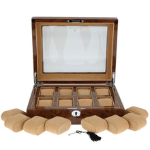 Load image into Gallery viewer, High Quality Watch Collectors Box for 8 Watches with Burl Walnut Veneer High Gloss Finish by Aevitas - Winder World